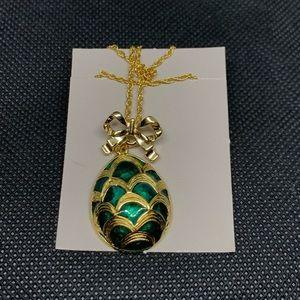 Vintage Avon emerald Easter egg pendant